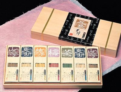 桐箱入5色7個蕎麦と長谷部の薬味のギフトセット